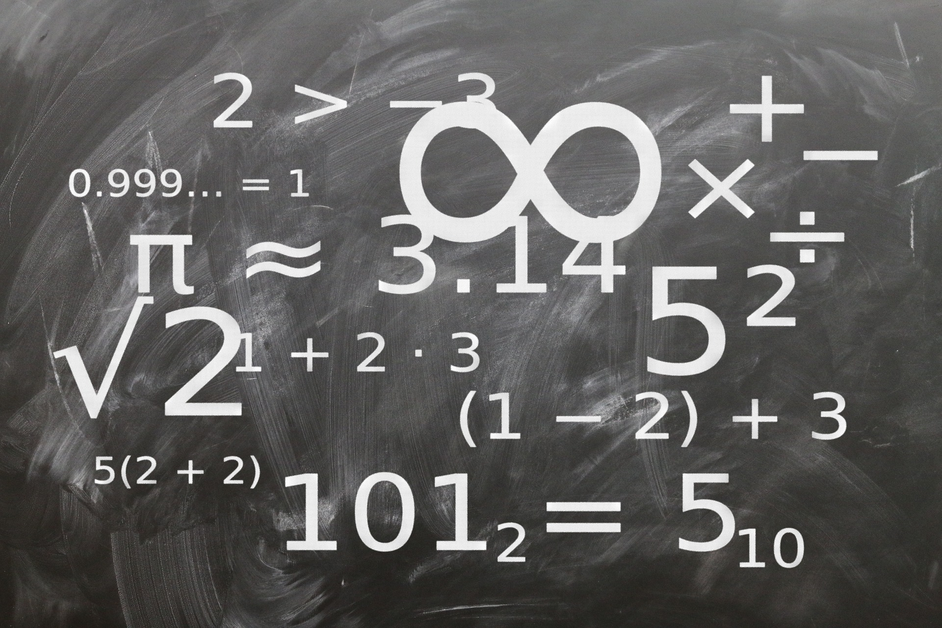 Numbers, mathematical expression, and infinity symbol on black chalkboard