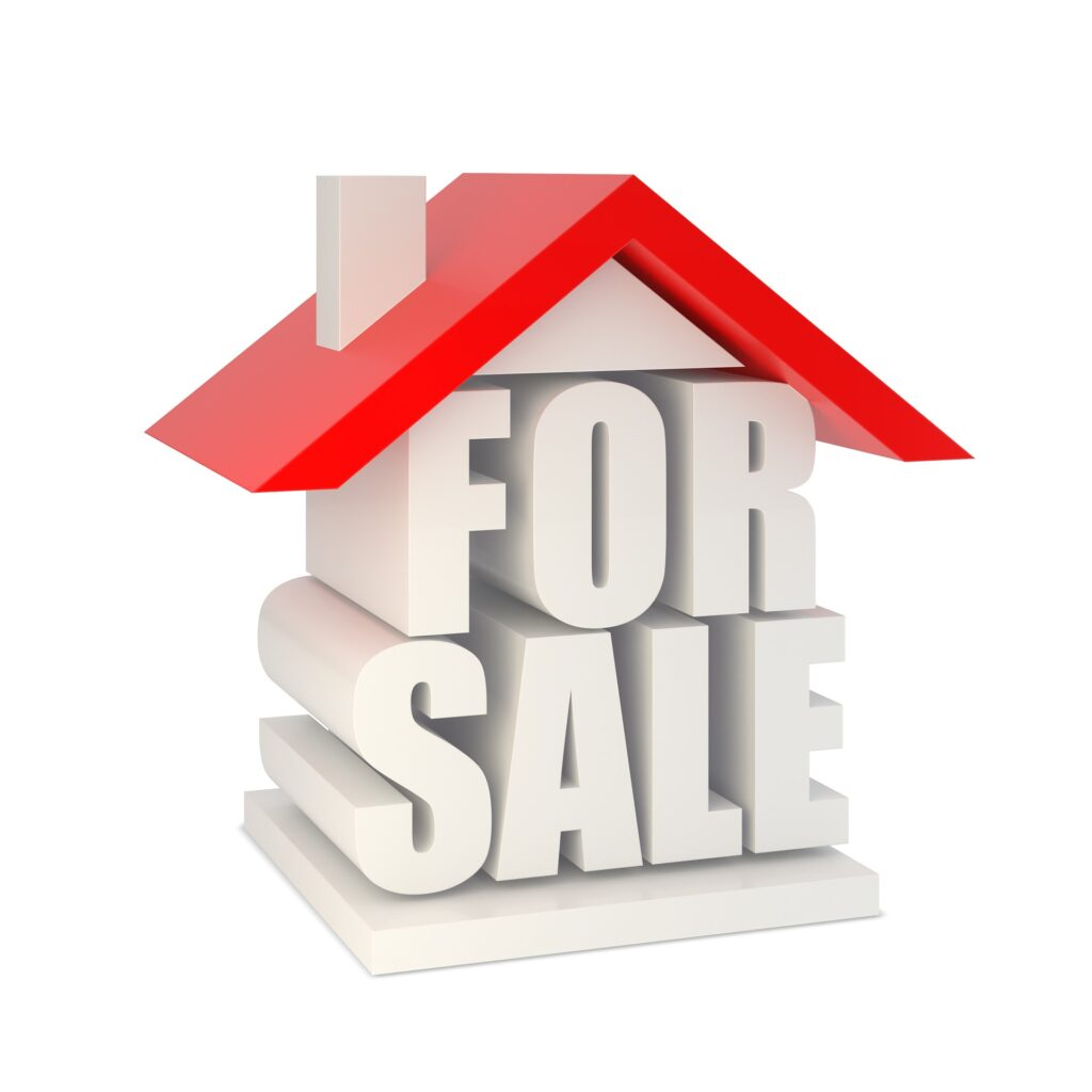 House icon with For Sale supporting the red roof