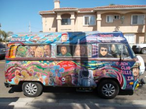 brightly painted hippie van