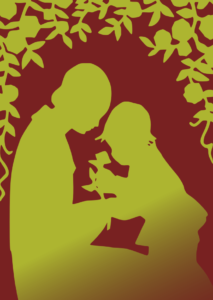 Silhouette of mother and child in gold on maroon background