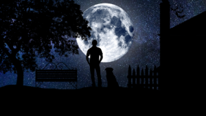 shadow figure of man and dog standing before a starry sky and bright full moon