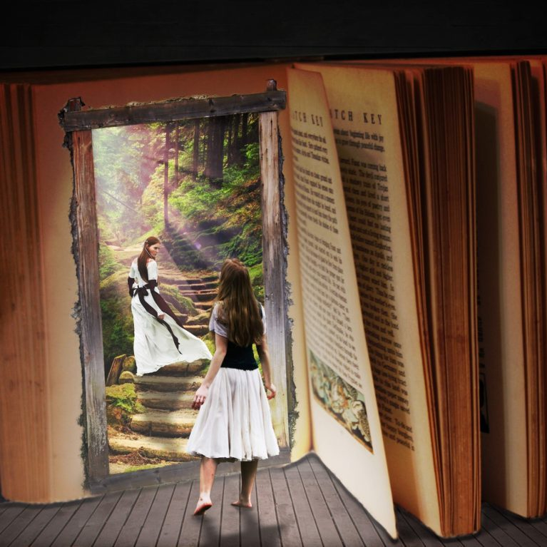 Young girl sees herself entering the pages of a book