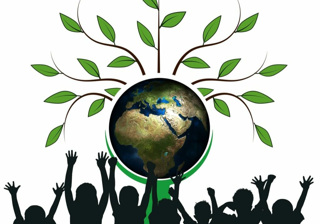 Youth raising arms in hope to an Earth prosperous and green with fresh growth